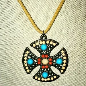 Tourquoise Cross Necklace Antique Gold Red Tan
